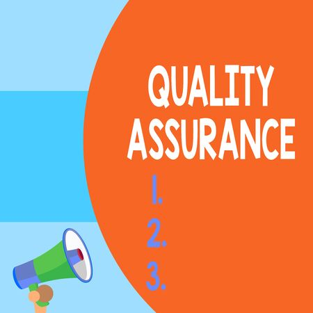 Handwriting text writing Quality Assurance. Conceptual photo Ensures a certain level of quality Established requirement Half part blank huge balloon empty text with small megaphone. Announcement