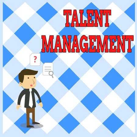 Handwriting text writing Talent Management. Conceptual photo Acquiring hiring and retaining talented employees Young Male Businessman Office Worker Standing Searching Problem Solution