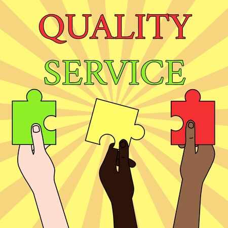 Writing note showing Quality Service. Business concept for how well delivered service conforms to clientexpectations Three Colored Empty Jigsaw Puzzle Pieces Held in Different People Hands Stok Fotoğraf