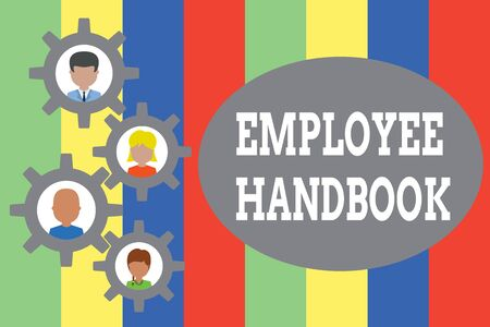 Text sign showing Employee Handbook. Business photo showcasing Document that contains an operating procedures of company Gearshaped picture frame family ornament mother father daughter son photo 版權商用圖片