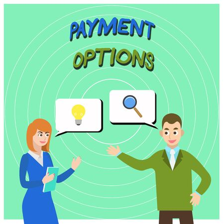 Conceptual hand writing showing Payment Options. Concept meaning The way of chosen to compensate the seller of a service Business Partners Colleague Jointly Seeking Problem Solution