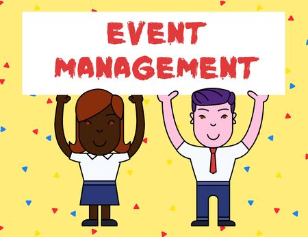 Handwriting text Event Management. Conceptual photo creation and development of large scale actions festivals Two Smiling People Holding Big Blank Poster Board Overhead with Both Hands