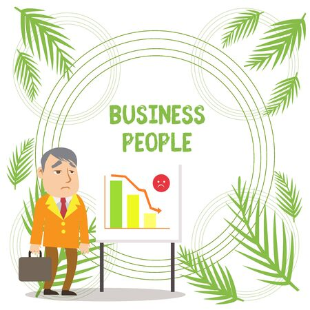 Handwriting text writing Business People. Conceptual photo People who work in business especially at an executive level Businessman Clerk with Brief Case Standing Whiteboard Declining Bar Chart