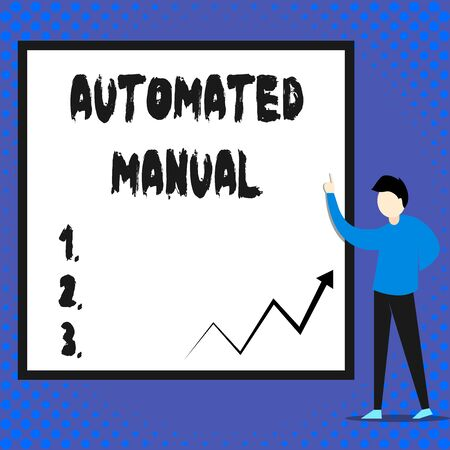 Writing note showing Automated Manual. Business concept for as trigger shift and it can switch between moods easily Man standing pointing up blank rectangle Geometric background 스톡 콘텐츠