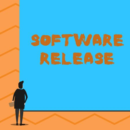 Text sign showing Software Release. Business photo text sum of stages of development and maturity for program Man stands in back view in front of huge empty blank big rectangle board