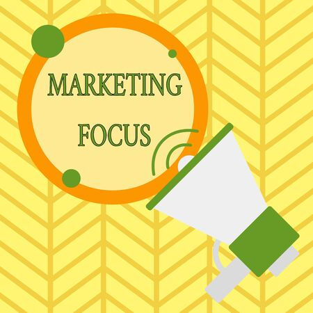 Handwriting text writing Marketing Focus. Conceptual photo understanding your customers and thier needs using stats SpeakingTrumpet Empty Round Stroked Speech Text Balloon Announcement