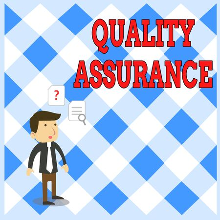 Handwriting text writing Quality Assurance. Conceptual photo Ensures a certain level of quality Established requirement Young Male Businessman Office Worker Standing Searching Problem Solution