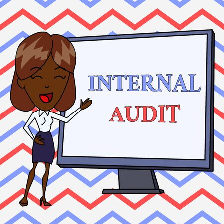 Conceptual hand writing showing Internal Audit. Concept meaning Evaluates the effectiveness of the controls and processes White Female in Standing Pointing Whiteboard Presentation Reklamní fotografie