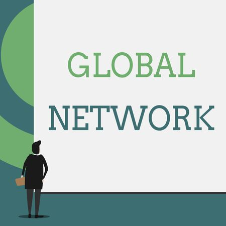 Text sign showing Global Network. Business photo showcasing Any communication system which spans the entire Earth Back view young woman watching blank big rectangle. Geometrical background