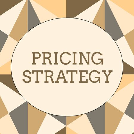 Handwriting text writing Pricing Strategy. Conceptual photo set maximize profitability for unit sold or market overall Obtuse Triangle Shape in Earth Tone Forming Mosaic and Stained Glass Pattern