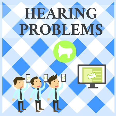 Text sign showing Hearing Problems. Business photo showcasing is partial or total inability tolisten to sounds normally SMS Email Marketing Media Audience Attraction Personal Computer Loudspeaker