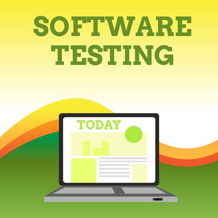Text sign showing Software Testing. Business photo showcasing investigation provide information about the quality of it Open Modern Laptop Switched On with Website Homepage on Screen Web Search