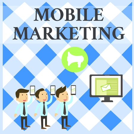 Text sign showing Mobile Marketing. Business photo showcasing technique focused reaching audience on their smart device SMS Email Marketing Media Audience Attraction Personal Computer Loudspeaker Stock Photo