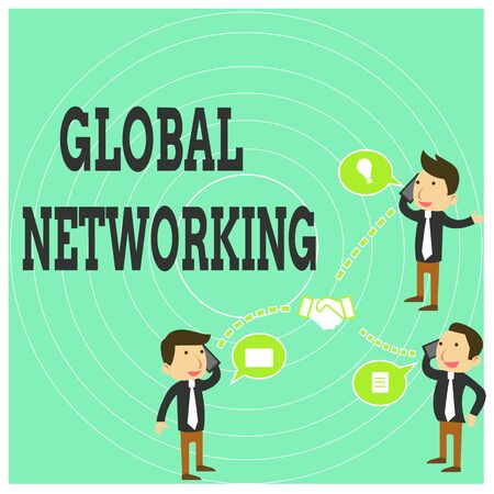 Conceptual hand writing showing Global Networking. Concept meaning Communication network which spans the entire Earth WAN Businessmen Coworker Conference Call Discussion Mobile Phone