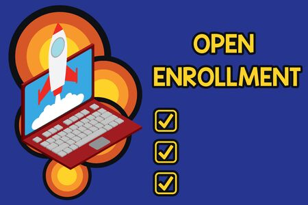 Writing note showing Open Enrollment. Business concept for The yearly period when showing can enroll an insurance Rocket launching clouds laptop background. Startup project growing. SEO