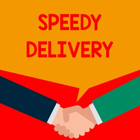 Word writing text Speedy Delivery. Business photo showcasing provide products in fast way or same day shipping overseas Two persons have bubbly conversation while greet each other and shake hands Imagens