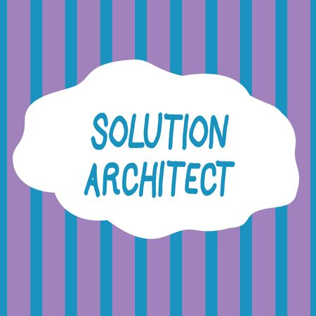 Text sign showing Solution Architect. Business photo showcasing Design applications or services within an organization Seamless Vertical Stripes Pattern in Blue and Violet Alternate Color Strip