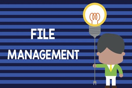Writing note showing File Management. Business concept for computer program that provides user interface to analysisage data Standing man tie holding plug socket light bulb Idea Startup
