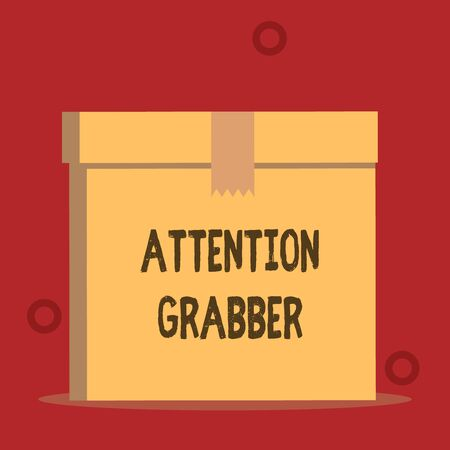 Word writing text Attention Grabber. Business photo showcasing Deanalysisding notice mainly by being prominent or outlandish Close up front view open brown cardboard sealed box lid. Blank background