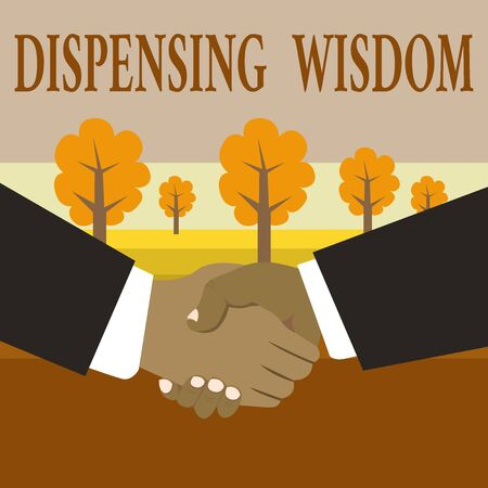 Writing note showing Dispensing Wisdom. Business concept for Giving intellectual facts on variety of subjects Hand Shake Multiracial Male Business Partners Formal Suits Banque d'images