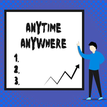 Writing note showing Anytime Anywhere. Business concept for saying that you can do something at every place and moment Man standing pointing up blank rectangle Geometric background