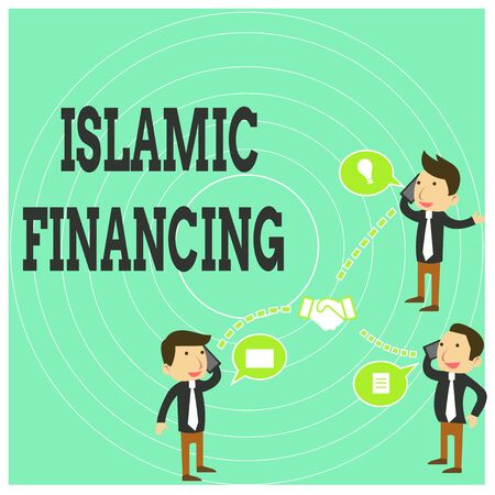 Conceptual hand writing showing Islamic Financing. Concept meaning Banking activity and investment that complies with sharia Businessmen Coworker Conference Call Discussion Mobile Phone 写真素材