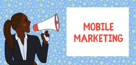 Text sign showing Mobile Marketing. Business photo text technique focused reaching audience on their smart device Young Woman Jacket Ponytail Shouting into Loudhailer Rectangular Text Box