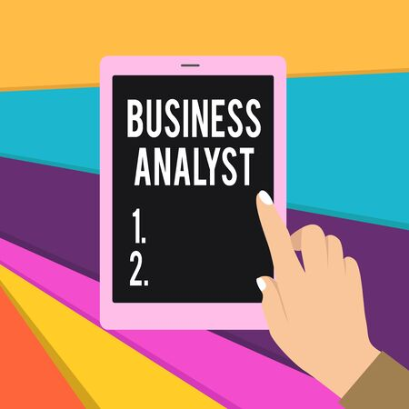 Word writing text Business Analyst. Business photo showcasing someone who analyzes big organization or website domain Female Hand with White Polished Nails Pointing Finger Tablet Screen Off