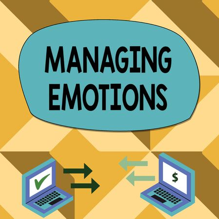 Text sign showing Managing Emotions. Business photo showcasing Controlling feelings in oneself Maintain composure Exchange Arrow Icons Between Two Laptop with Currency Sign and Check Icons