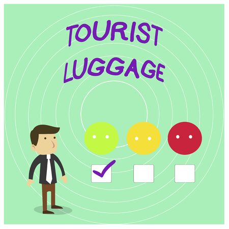 Conceptual hand writing showing Tourist Luggage. Concept meaning big bag that contains everything one needs for traveling White Questionnaire Survey Choice Satisfaction Green Tick Reklamní fotografie
