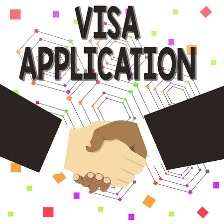 Text sign showing Visa Application. Business photo text Form to ask permission travel or live in another country Hand Shake Multiracial Male Business Partners Colleagues Formal Black Suits