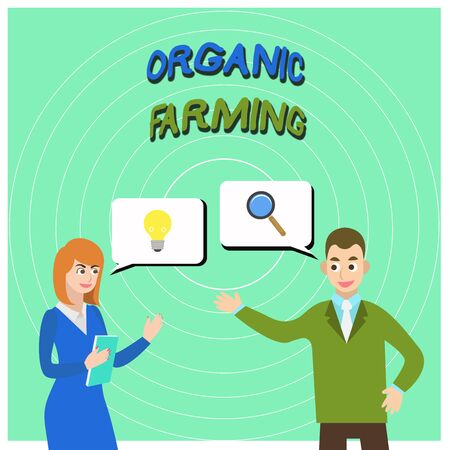 Conceptual hand writing showing Organic Farming. Concept meaning an integrated farming system that strives for sustainability Business Partners Colleague Jointly Seeking Problem Solution Banco de Imagens