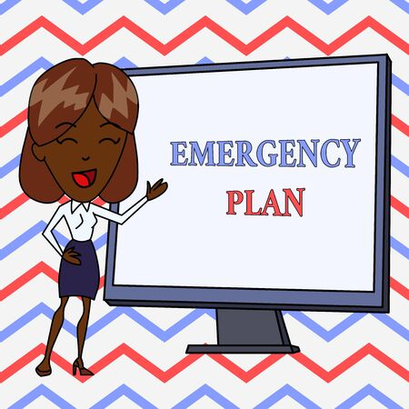 Conceptual hand writing showing Emergency Plan. Concept meaning Procedures for response to major emergencies Be prepared White Female in Standing Pointing Whiteboard Presentation Stock Photo