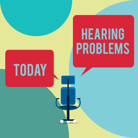 Word writing text Hearing Problems. Business photo showcasing is partial or total inability tolisten to sounds normally Executive chair sharing two blank square speech bubbles right left side
