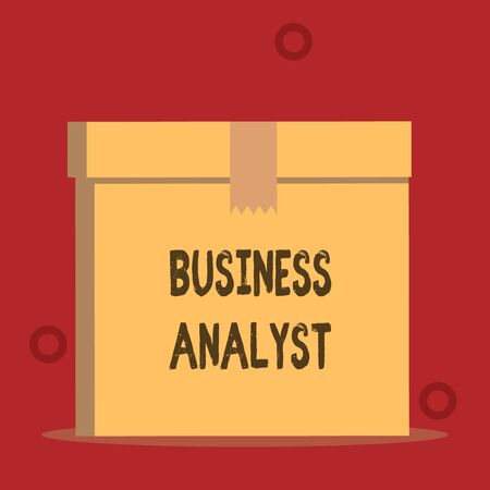Word writing text Business Analyst. Business photo showcasing someone who analyzes big organization or website domain Close up front view open brown cardboard sealed box lid. Blank background Imagens
