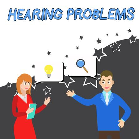 Conceptual hand writing showing Hearing Problems. Concept meaning is partial or total inability tolisten to sounds normally Business Partners Colleague Jointly Seeking Problem Solution Фото со стока