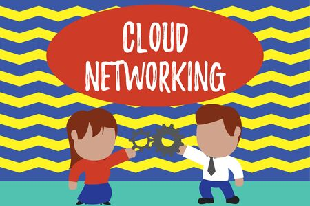 Conceptual hand writing showing Cloud Networking. Concept meaning is term describing access of networking resources Young couple sharing gear Man tie woman skirt relation