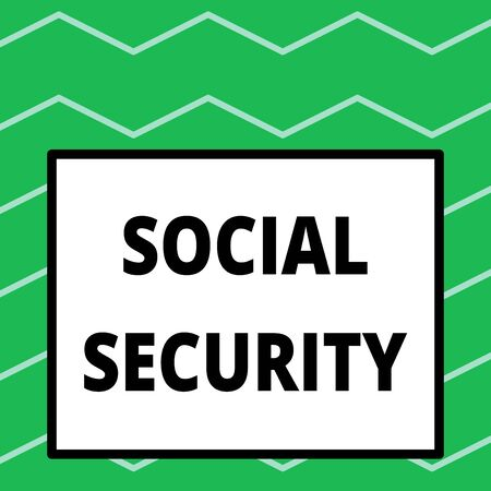 Writing note showing Social Security. Business concept for assistance from state showing with inadequate or no income Big square background inside one thick bold black outline frame