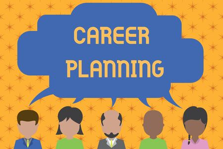 Word writing text Career Planning. Business photo showcasing Strategically plan your career goals and work success Five different races persons sharing blank speech bubble. People talking