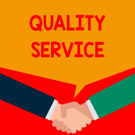 Word writing text Quality Service. Business photo showcasing how well delivered service conforms to clientexpectations Two persons have bubbly conversation while greet each other and shake hands
