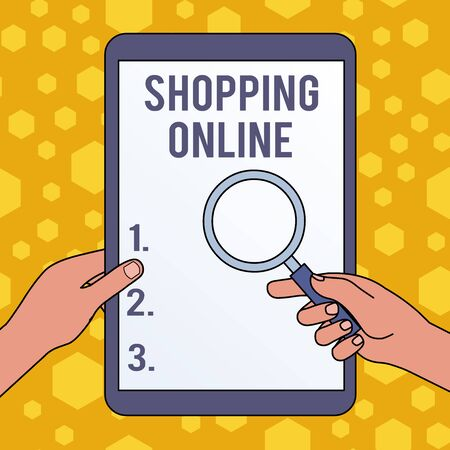 Handwriting text writing Shopping Online. Conceptual photo buying you want through internet website then deliver it Hands Holding Magnifying Glass Against Switched Off Touch Screen Tablet