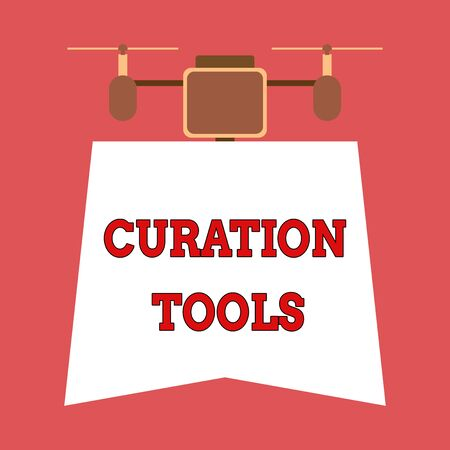 Writing note showing Curation Tools. Business concept for Software used in gathering information relevant to a topic Drone holding downwards banner. Geometrical abstract background design 스톡 콘텐츠
