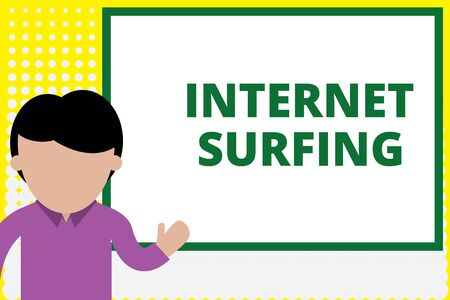 Text sign showing Internet Surfing. Business photo text browsing hundred of websites using any installed browser Young man standing in front whiteboard pointing to project. photo Art Reklamní fotografie
