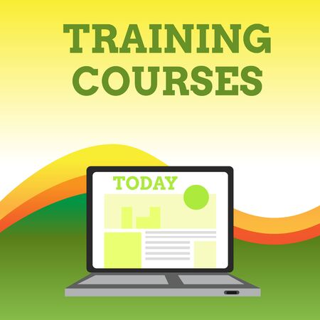 Text sign showing Training Courses. Business photo showcasing is series of lessons or lectures teaching skills you need Open Modern Laptop Switched On with Website Homepage on Screen Web Search Foto de archivo - 124656233