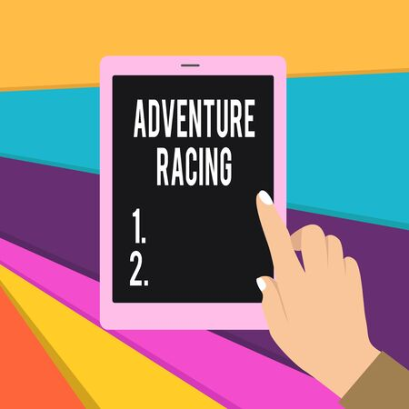 Word writing text Adventure Racing. Business photo showcasing disciplinary sport involving navigation over unknown course Female Hand with White Polished Nails Pointing Finger Tablet Screen Off
