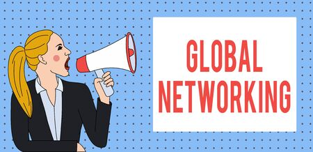 Word writing text Global Networking. Business photo showcasing Communication network which spans the entire Earth WAN Young Woman Jacket Ponytail Shouting into Loudhailer Rectangular Text Box Stock Photo