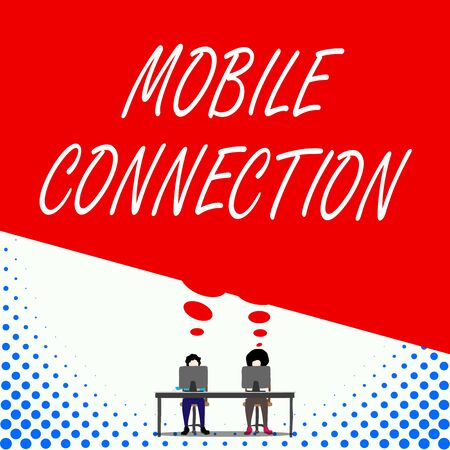 Text sign showing Mobile Connection. Business photo text Secure universal login solution using mobile phone Two men sitting behind desk each one laptop sharing blank thought bubble