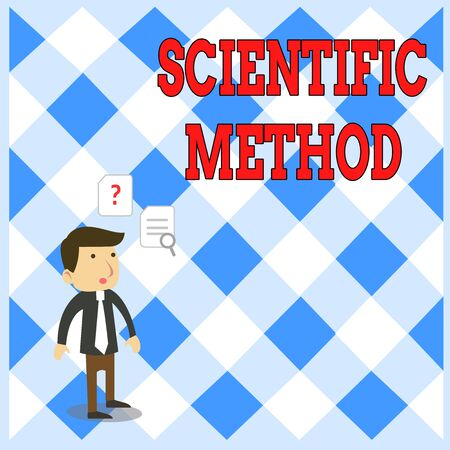 Handwriting text writing Scientific Method. Conceptual photo Principles Procedures for the logical hunt of knowledge Young Male Businessman Office Worker Standing Searching Problem Solution