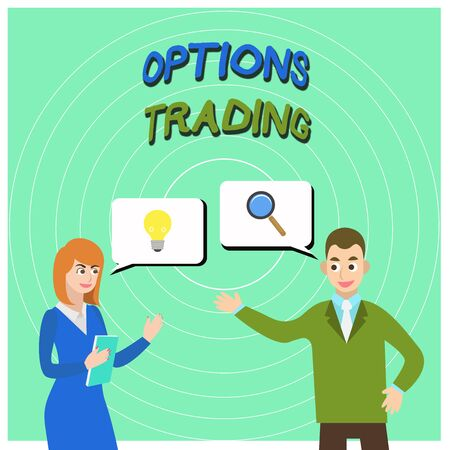 Conceptual hand writing showing Options Trading. Concept meaning Different options to make goods or services spread worldwide Business Partners Colleague Jointly Seeking Problem Solution