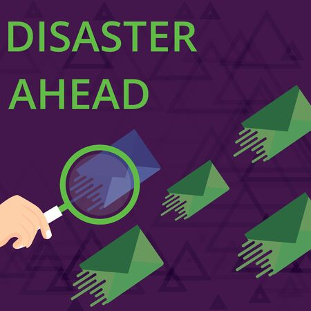 Text sign showing Disaster Ahead. Business photo showcasing Contingency Planning Forecasting a disaster or incident Magnifying Glass on One Different Color Envelope and others has Same Shade Foto de archivo - 124656257